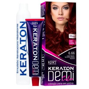 Coloração Semipermanente Keraton Demi Color 6.66 - Louro Escuro Vermelho Intenso Especial