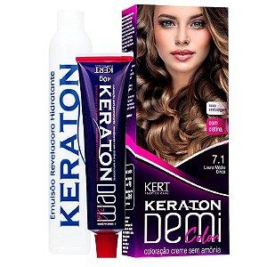 Coloração Semipermanente Keraton Demi Color 7.1 - Louro Médio Cinza
