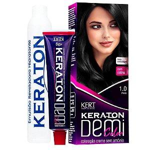 Coloração Semipermanente Keraton Demi Color 1.0 - Preto