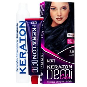 Coloração Semipermanente Keraton Demi Color 2.0 - Preto Azulado