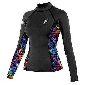 Camiseta M Longa Diva Pro 7B Surf Fem Mormaii Preto/Est Azul