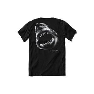 Camisa de Malha Senhor Polvo - Camisa Tubarão Branco - Preta