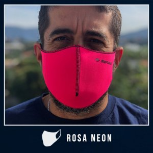 Máscara de Proteção Facial  em Neoprene - Rosa Neon