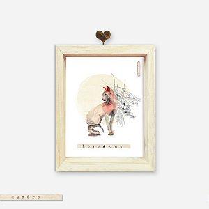 Quadro Caixa Pinus - Love Cat