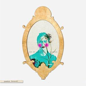 Quadro Oval Rococó - onde não puderes amar não te demores - Frida Kahlo