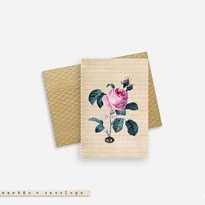 Cartão Envelope - Rosa Frágil Borboleta