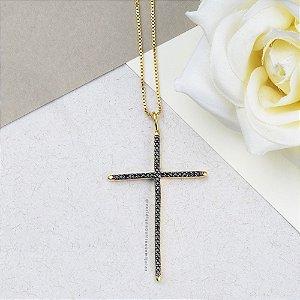 Colar Crucifixo Cravejado