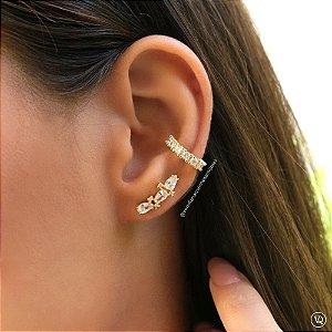 Brinco Ear Cuff Cristais