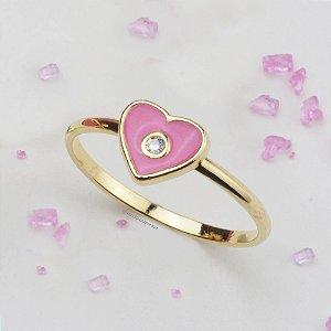 Anel Infantil Coração Esmaltado Rosa