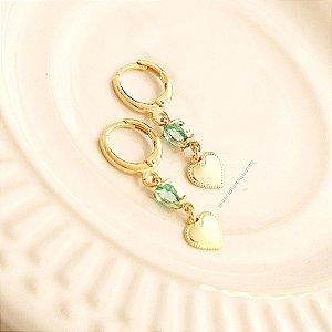 Argola Coração com Cristal Verde