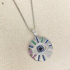 Colar com Medalha Olho Grego Colorida