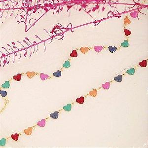Colar Infantil de Coração Colorido VQzinha