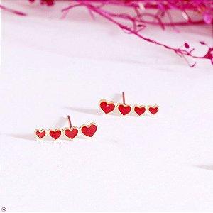 Brinco Ear Cuff de Coração Vermelho