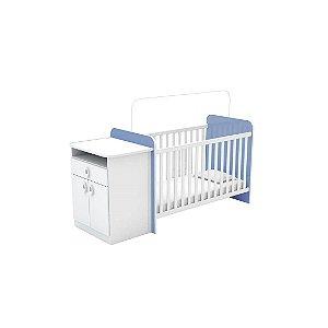 Berço Com Cômoda Batrol Inocência 2 Portas 1 Gaveta Branco/Azul [301848 AZ BR]