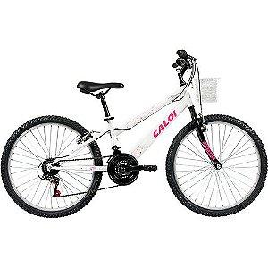 Bicicleta Caloi Ceci - Tam 12 - Aro 24 - 21v - Branco Perolizado