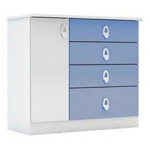 Cômoda Infantil Batrol Inocencia 1 Porta 4 Gavetas Branco/Azul [207558 BRAZ BRRS]