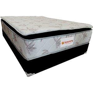 Conjunto Colchão Base Mola Ensacada Sonorey Açucena c/ Pillow Preto/Branco Estampado [128973188138101]