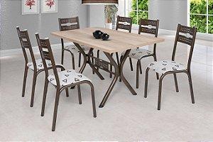 Conjunto Sala De Jantar Mesa Tampo Bp Tok E 6 Cadeiras Luna Ciplafe