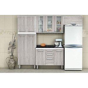 Cozinha Batrol Flex 4 Peças em MDP e Vidro Paneleiro Armário de Parede Aéreo e Balcão Noce escuro/Claro [5091/5095/50981]