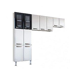Cozinha Colormaq Leblon 3 Peças em Aço e Vidro Paneleiro Armário de Parede e Mini Armário Branco/Preto [23881041]
