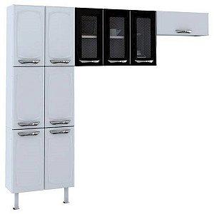 Cozinha Colormaq Leblon com 10 Portas - Branca/Preta