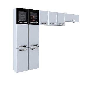 Cozinha Colormaq Leblon Light 3 Peças em Aço Paneleiro Armário de Parede e Armário de Parede Basculante Branco/Preto [23881021]