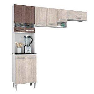 Cozinha Compacta Poquema Isadora 8 Portas, Detalhes Vidro