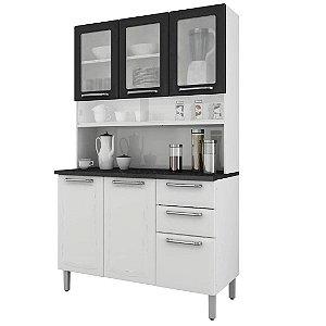 Kit Cozinha Itatiaia Regina 6 Portas 3 com Vidro 2 Gavetas Branco/Preto [I3VG2-120]