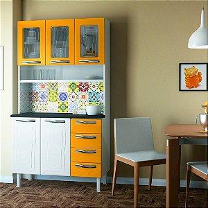 Kit de Cozinha Colormaq Ipanema Colours 5 Portas 4 Gavetas em Aço e Vidro Branco/Amarelo [23730241 BR AM]