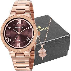 Kit Relógio Seculus Feminino Com Colar 77024LPSVRS3K1