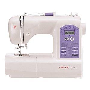 Máquina de Costura Singer Starlet 6680 Eletrônica 74 Pontos Mesa Extensora 127 Volts Branco e Lilás