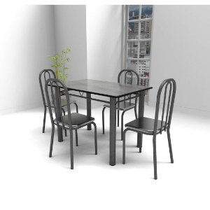 Mesa de Jantar Art Panta Atlanta 4 Cadeiras Tampo em MDF Craqueado/Prata [CRAQ PR]
