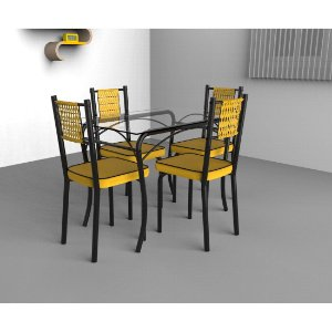 Mesa de Jantar Art Panta Lion Premium 4 Cadeiras Juliana Junco Tampo em Vidro Amarela [JULIANA JUNCO AM]