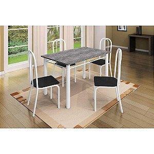 Mesa de Jantar Art Panta Vitória 4 Cadeiras Tampo em Granito Branco/Preto [685929]