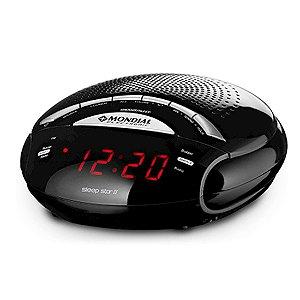 Rádio Relógio Mondial Sleep Star II Dual Alarme Funç?o Snooze FM/AM Sintonia Digital Preto [RR02]