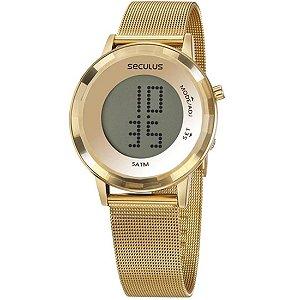 Relógio Feminino Seculus Digital Aço Dourado 77046Lpsvds1