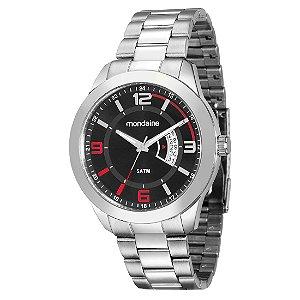 Relógio Masculino Mondaine Analógico c/calendário Resistente  Água Prateado [78720G0MVNA1]