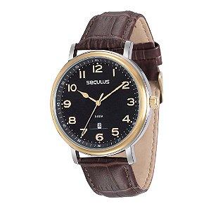 Relógio Masculino Seculus Classic Masc Analógico Resistente  Água Couro legítimo Marrom [23560GPSVBC1]