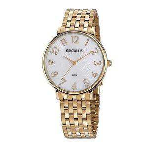 Relógio Seculus Feminino Ref: 77050lpsvds1 Social Dourado