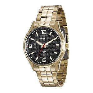 Relógio Seculus Masculino Ref: 20571gpsvda1 Casual Dourado