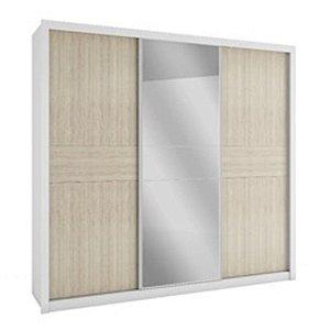 Roupeiro 3 Portas Deslizantes Com Espelho Copacabana Plus Branco/Savana