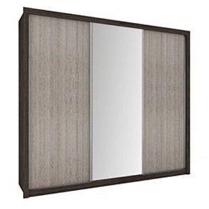 Roupeiro 3 Portas Deslizantes Com Espelho Copacabana Plus Ébano/Savana