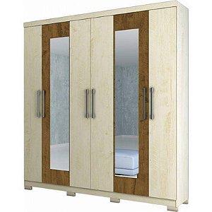 Guarda-roupas Moval Sidney 6 Portas 3 Gavetas C/Espelho Avel? Wood/Castanho [846831 AV WOOD/C]
