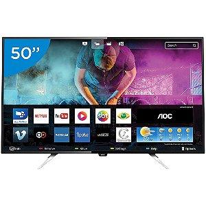 """Smart TV 50"""" LED AOC Ultra HD 4K 4HDMI 2USB Conversor Digital Integrado Preta [LE50U7970]"""