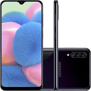 "Smartphone Samsung Galaxy A30s 64GB Dual Chip Android 9.0 Tela 6.4"" Octa-Core 4G Câmera Tripla 25MP + 5MP + 8MP - Preto"