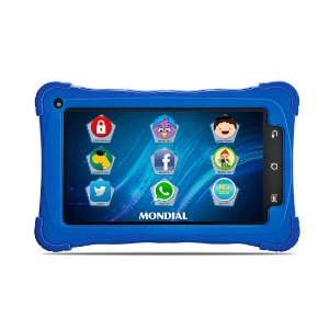 "Tablet Mondial Kids Tela 7"" Wi-fi Android 4.4 Câmera 2.0 Mp Processador Quad Core Capa Protetora Azul [Tb-10]"