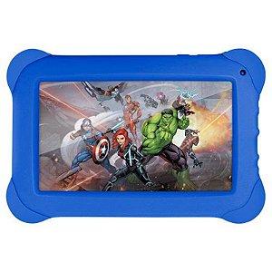 "Tablet Multilaser Disney Vingadores Tela 7"" Wi-fi Android 4.4 Câmera 2.0 Mp Processador Quad-Core Capa Protetora Azul [NB240]"