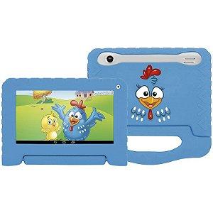 """Tablet Multilaser Galinha Pintadinha Tela 7"""" Wi-fi Android 4.4 Câmera 2.0 Mp Processador Quad-Core Capa Protetora Azul [NB249]"""