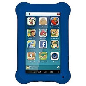 """Tablet Multilaser Kid Pad Tela 7"""" Wi-fi Android 4.4 Câmera 2.0 Mp Processador Quad-Core Capa Protetora Azul [NB194]"""