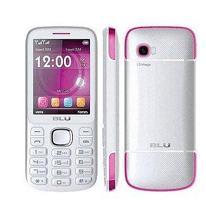 "Telefone Celular Blu Jenny TV Dual Chip Tela 2.8"" Bluetooth Radio FM Branco/Rosa [T276T]"